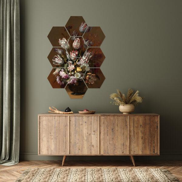 Stilleven met bloemen hexagons