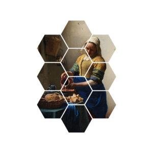 wanddecoratie hexagons melkmeisje
