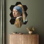 hexagon meisje parel muurdecoratie