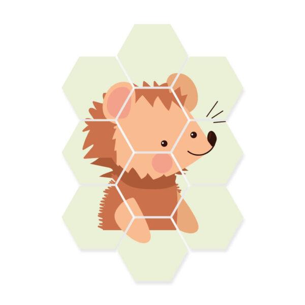 hexagon foto kinderkamer egel dieren