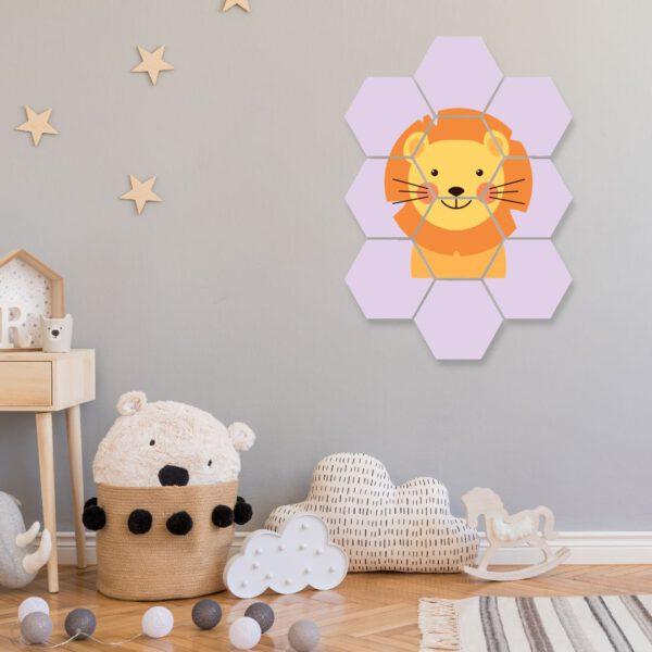 wanddecoratie leeuw hexagon foto kinderkamer