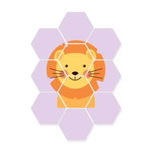 hexagon foto kinderkamer leeuw dieren