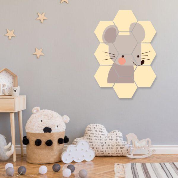 wanddecoratie muis hexagon foto kinderkamer