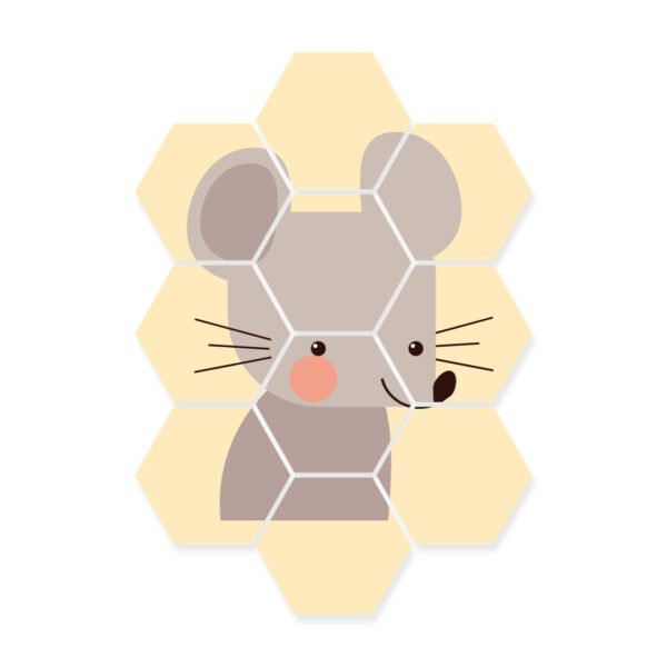 hexagon foto kinderkamer muis dieren