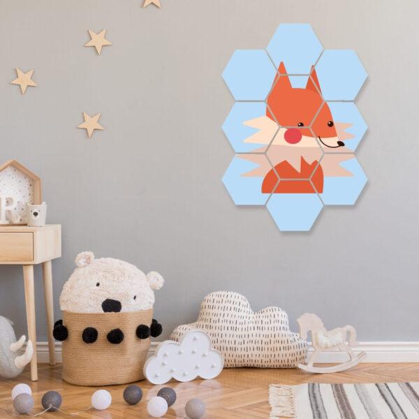 wanddecoratie vos hexagon foto kinderkamer